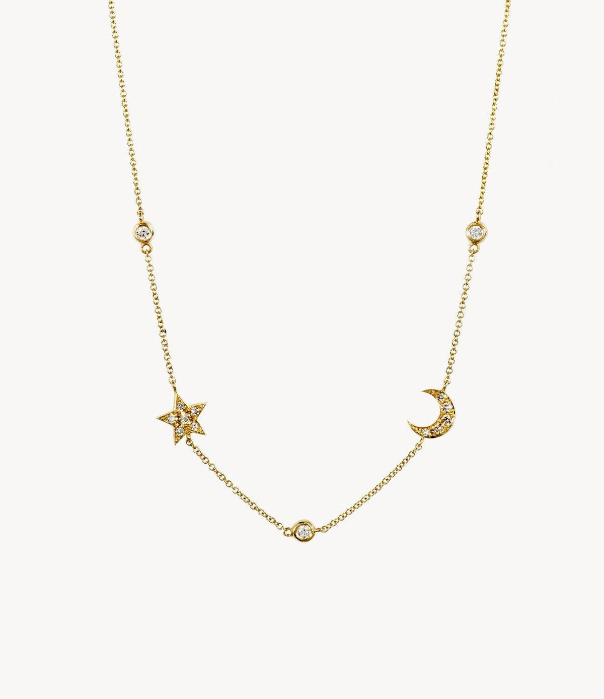 Mini Diamond Star and Moon Necklace