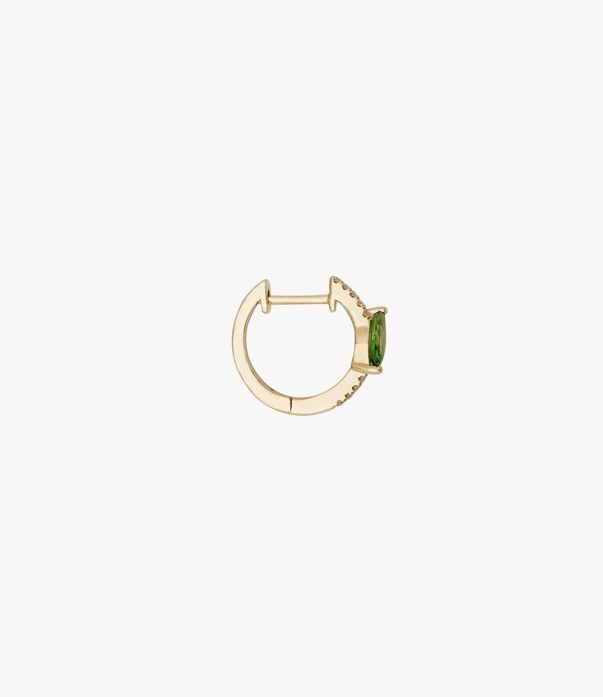 Diamond and Green Marquise Hoop