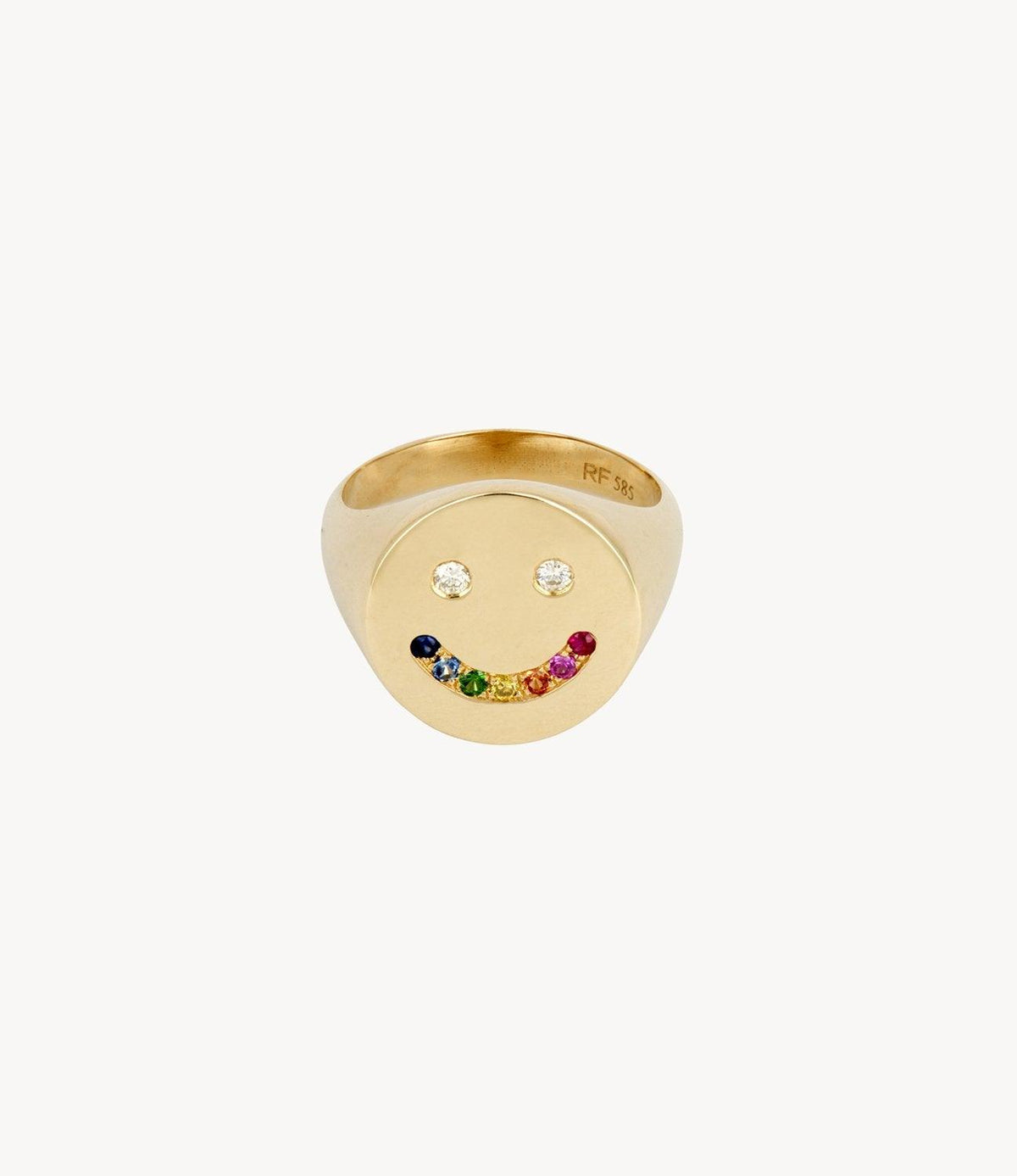 Rainbow Smiley Signet Ring
