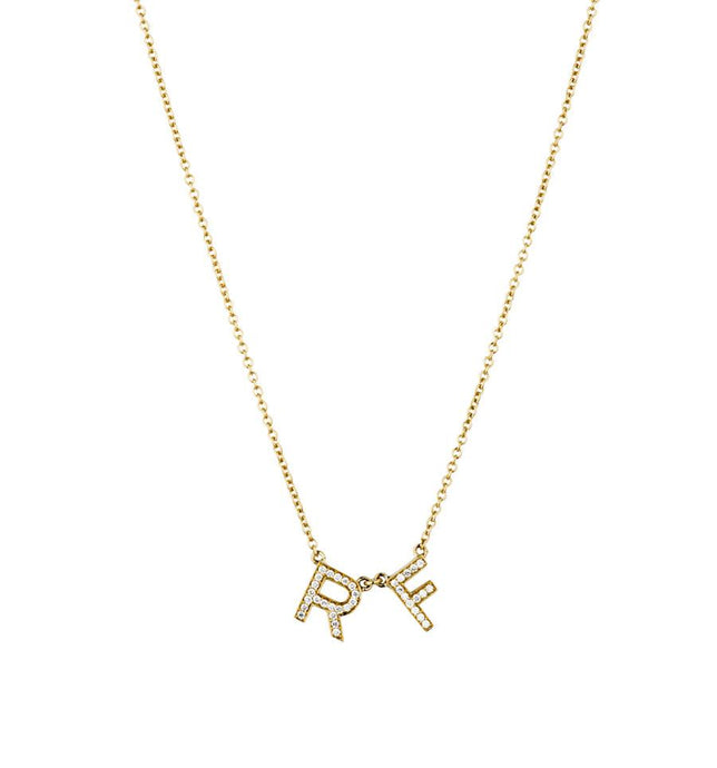 Yellow Gold, Chunky Diamond Letter Necklace