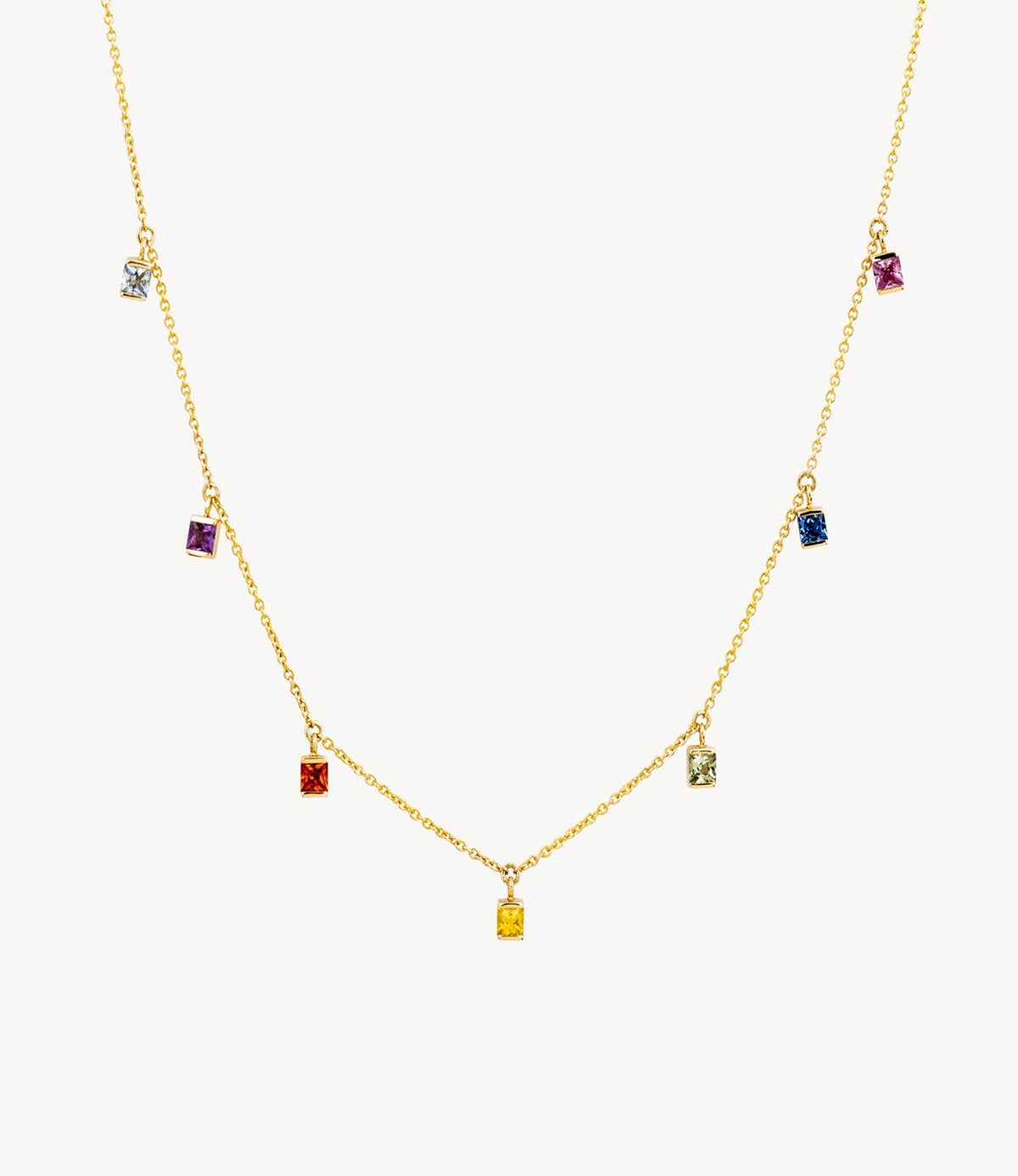 Princess Cut Rainbow Drop Necklace