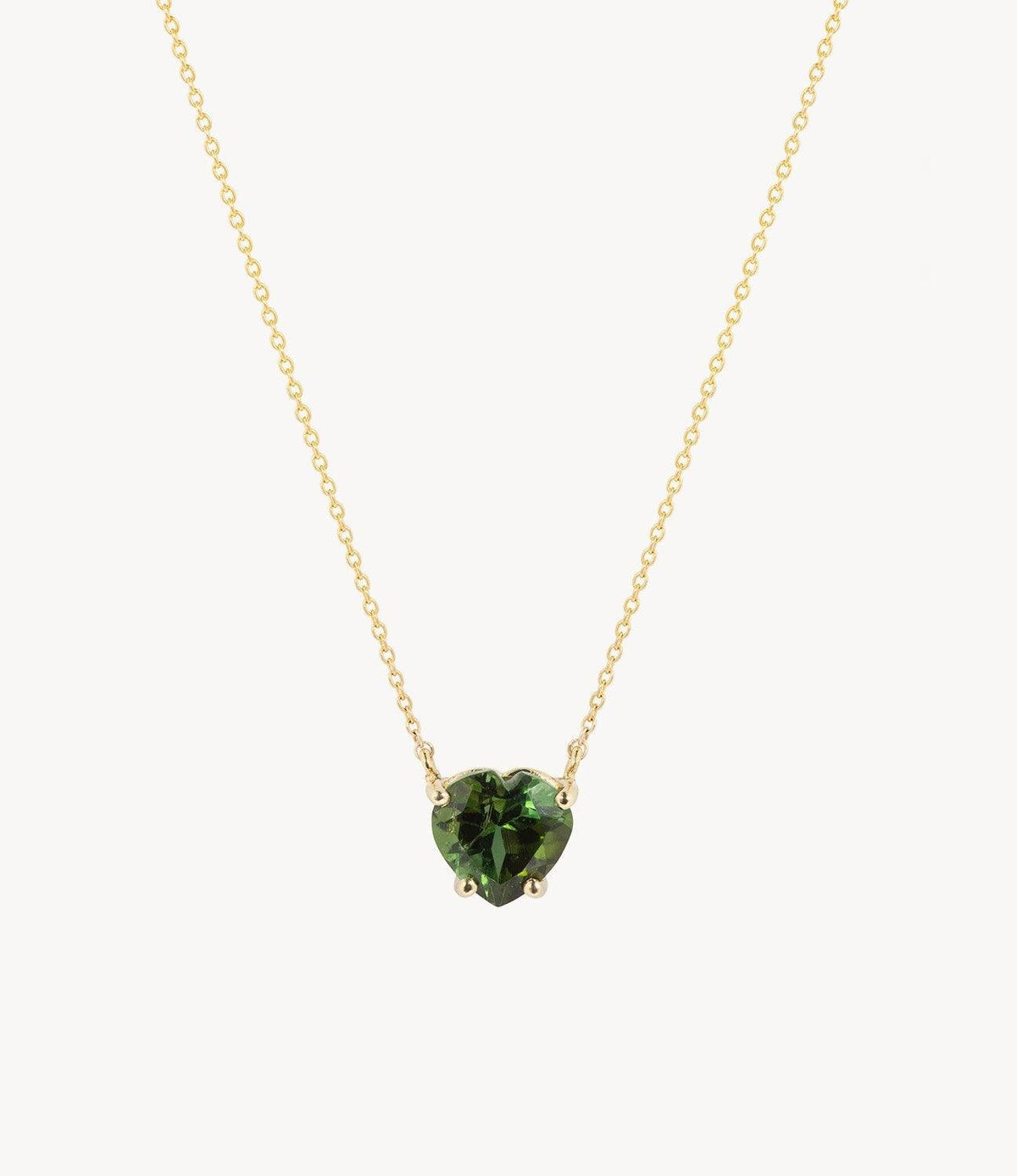 Green Tourmaline Heart Necklace