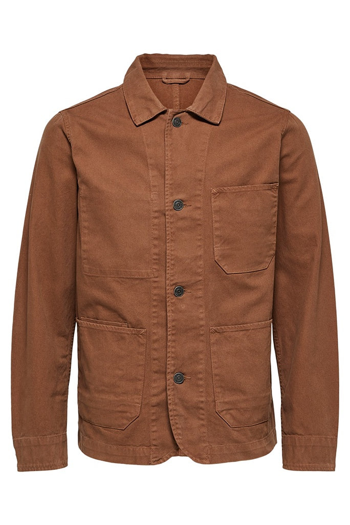 Selected Homme Worker Jacket - Cocoa Brown
