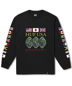 Huf Global Domination Long Sleeve T-Shirt - Black