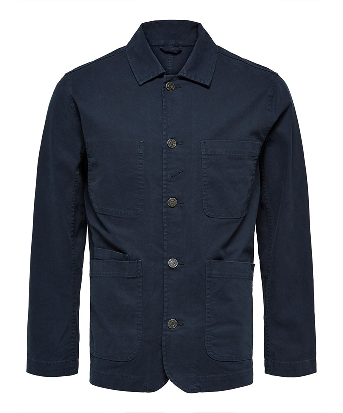 Selected Homme Jack Canvas Worker Jacket - Dark Sapphire