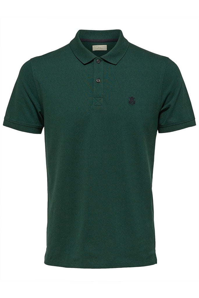 Selected Homme Haro Embroidered Polo - Trekking Green