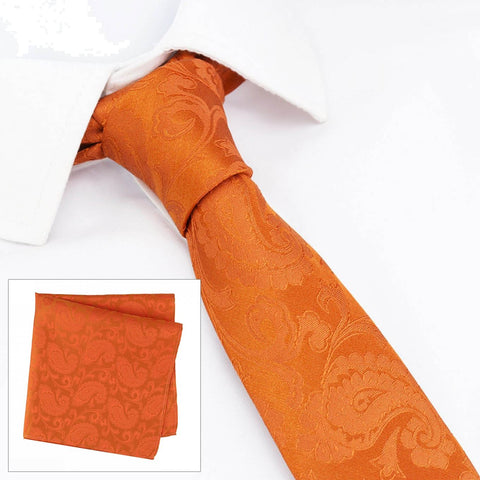 Classic Orange Paisley Luxury Slim Silk Tie & Handkerchief Set