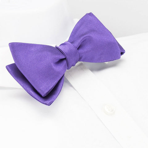 Self-Tie Plain Purple Silk Bow Tie