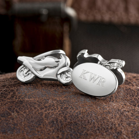 Silver Plated Motorbike Chain Cufflinks (Engraved)