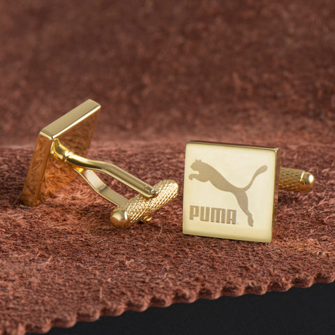 Logo Engraved Cufflinks Gold Plated Square