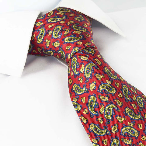 Red Paisley Printed Silk Tie