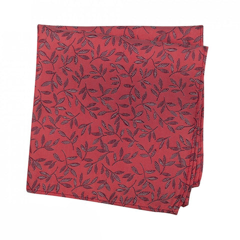 Red Jacquard Leaf Silk Handkerchief