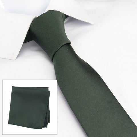 Plain Dark Green Slim Silk Tie & Handkerchief Set
