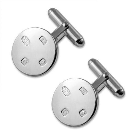 Sterling Silver Feature Hallmark Round Cufflinks