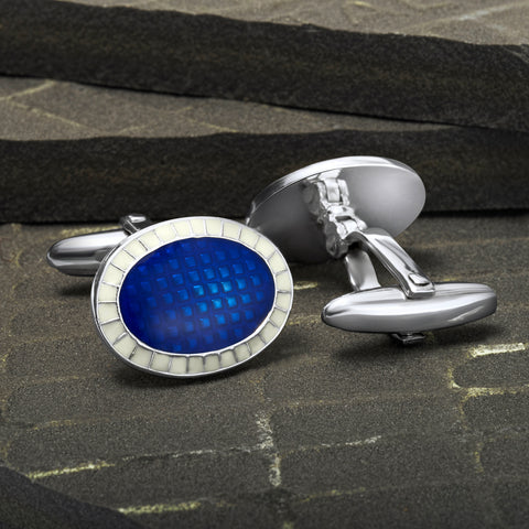 Sterling Silver Blue Azure Cufflinks
