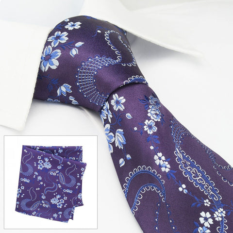 Purple & Silver Luxury Floral Silk Tie & Handkerchief Set