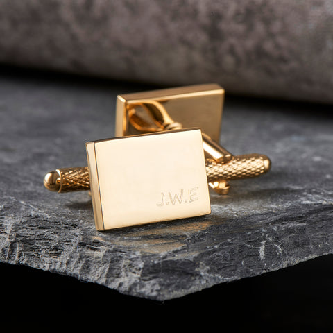 Engraved Gold Cufflinks
