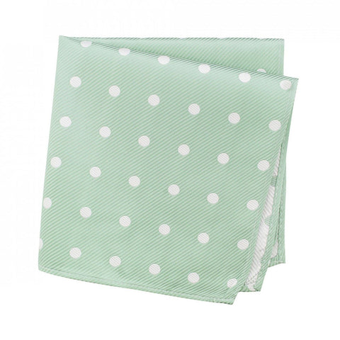 Mint Green Silk Handkerchief With White Polka Dots