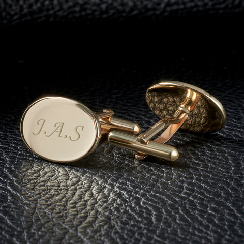 9ct Gold Engraved Solid Oval Cufflinks