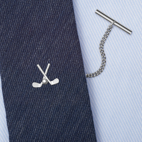 Sterling Silver Crossed Golf Clubs Tie Tack