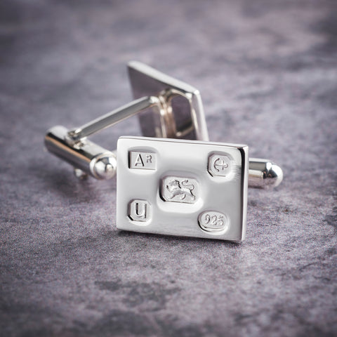 Sterling Silver Rectangle Feature Hallmarked Cufflinks