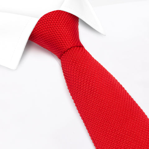 Bright Red Knitted Square Cut Silk Tie