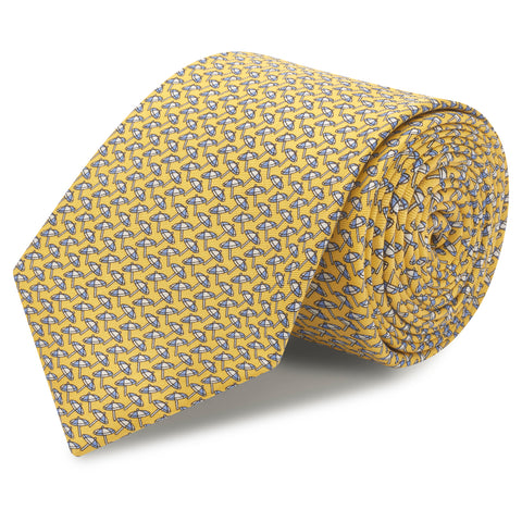 Yellow Parasol Luxury Printed Silk Tie