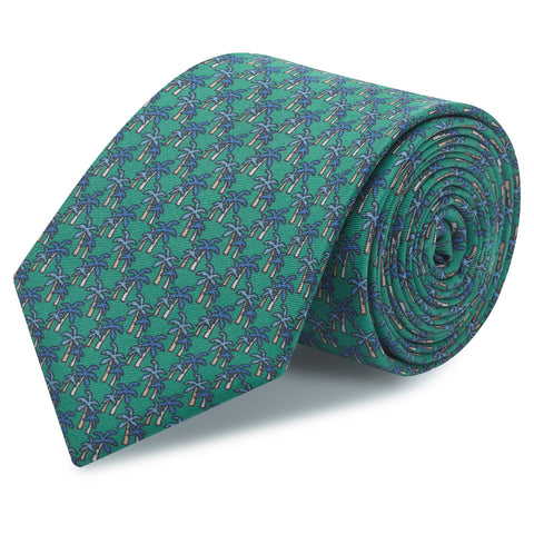 Green Palm Tree Luxury Printed Silk Tie