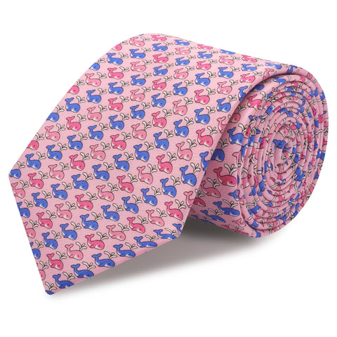 Pink Whales Luxury Printed Silk Tie