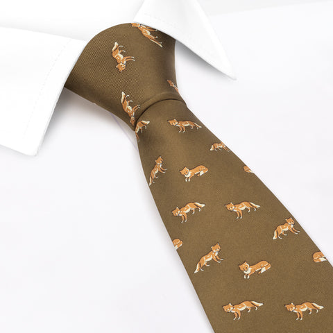Country Green Silk Tie With Fox Design