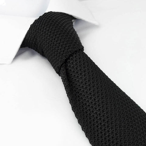 Black Knitted Square Cut Silk Tie