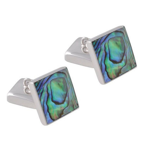 Sterling Silver Oyster Shell Double-Sided Square Cufflinks