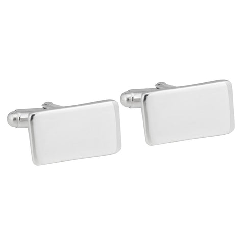 Sterling Silver Plated Rectangular Cufflinks