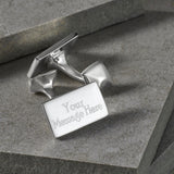 Sterling Silver Plain Rectangle Cufflinks (Engraved)