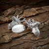 Silver Plated Stag Chain Cufflinks (Engraved)