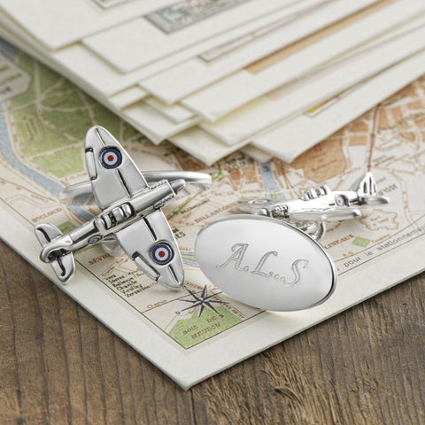 Silver Plated Spitfire Chain Cufflinks (Engraved)