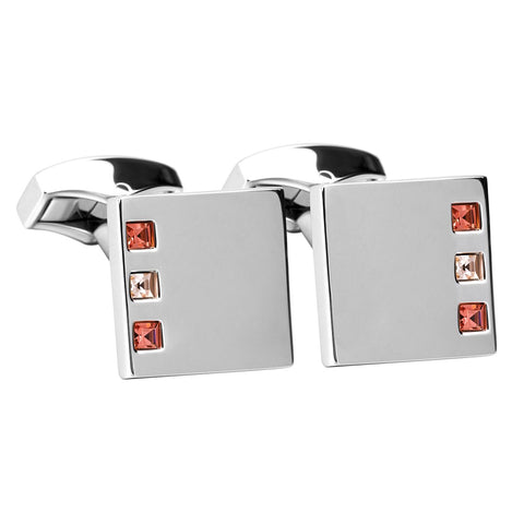 Pink And Peach Swarovski Crystal Square Cufflinks