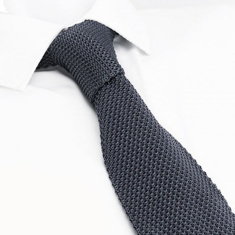Charcoal Grey Knitted Square Cut Silk Tie