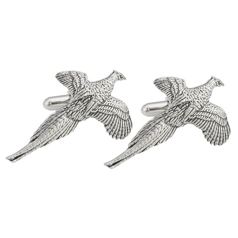 Pewter Flying Pheasant Cufflinks