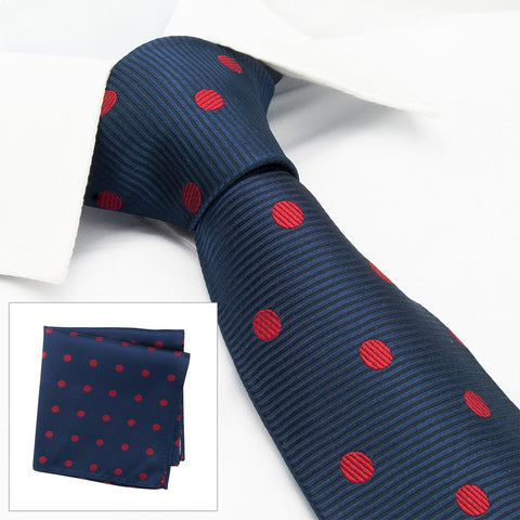 Navy With Red Polka Dots Silk Tie & Handkerchief Set