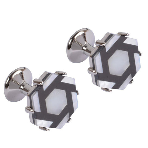 Black and Mother of Pearl Hexagon Cufflinks