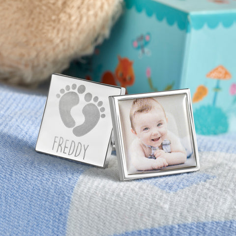 Personalised Footprint Name & Photo Cufflinks