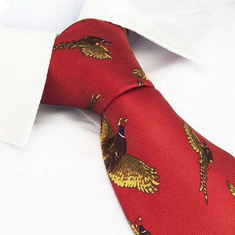 Bright Red Flying Pheasants Silk Tie
