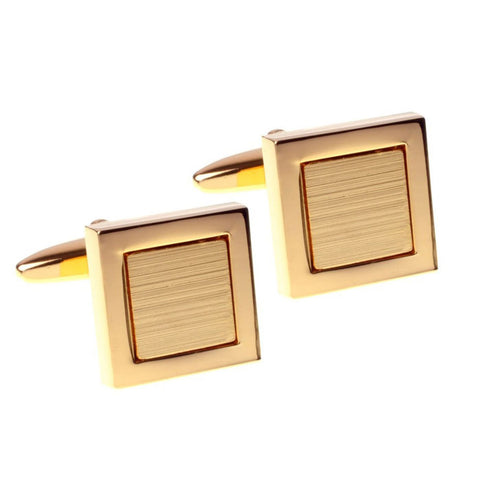 Brushed and Polished Gold Square Cufflinks