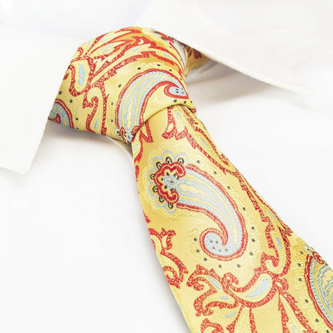Bright Gold Paisley Luxury Silk Tie