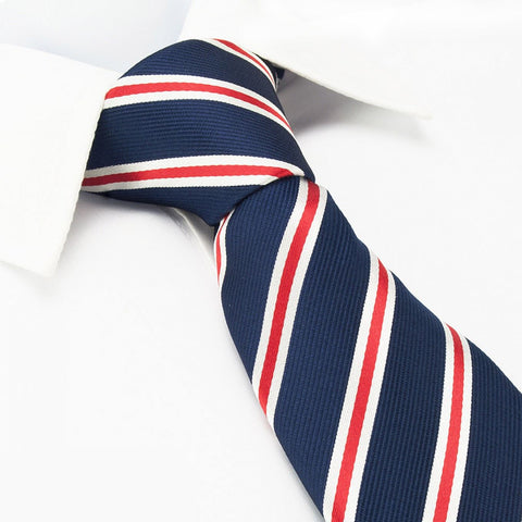 Navy Silk Tie With Red And White Stripes