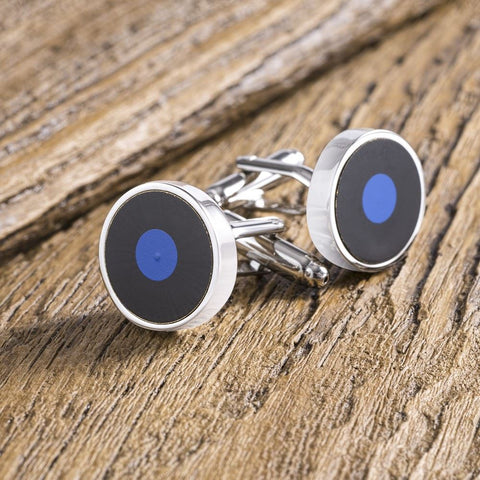 Black & Blue Circle Cufflinks