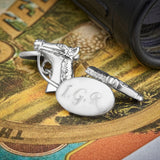 Silver Plated Horse Chain Cufflinks (Engraved)