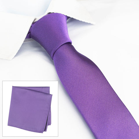 Plain Purple Slim Silk Tie & Handkerchief Set