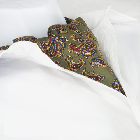 Country Green Large Paisley Twill Silk Self Tie Cravat
